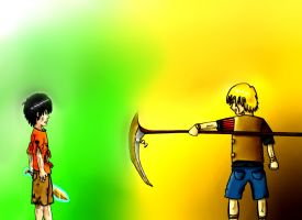 Percy Jackson vs Luke (as Kronos) Colored by KaiPak