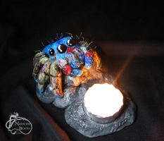Jumping Spider Candle Holder Sculpture by NadilynBeato