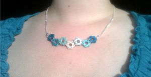 Turquoise to Pearl Ombre Steampunk Necklace by StarfallAtDusk