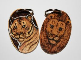 Pyrography Big Cat Keyrings by BumbleBeeFairy