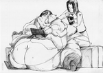Obese woman Maya and Shigeru by Kahuurinzan
