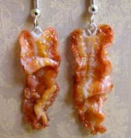 Bacon Earrings.. Again by LittleSweetDreams
