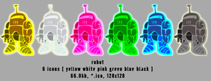 robot 128x128 6icons by gr8koogly