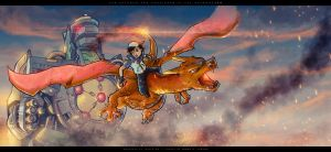 Ash Ketchum and Charizard vs the Dragonzord by geckokid