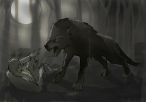 A boy and a wolf by ihni