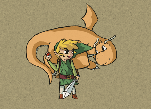 Pokemon Wind Waker: Link and Dragonite by Totallyhypnosquid