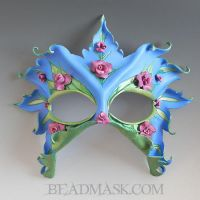 Lady of the Roses Leather Mask by Beadmask