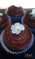 Chocolate Cupcakes no.3 - Royal Icing Flowers by lillyxia