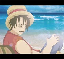 Luffy In the Beach by Sarah927