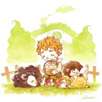the hobbit's Dwarfsheep farm by harmonia3784