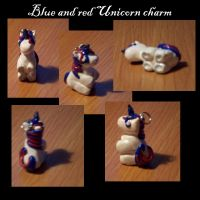 Blue and red unicorn charm by BloodStainedSilk