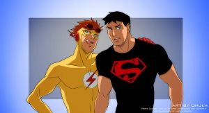 kid flash and superboy by idaiku17