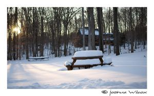 Bench in Snow by jwstarbuck09