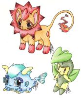 Fake Pokemon Starters by KatnipThief