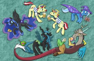 MLP Cup Art - The Villains by sophiecabra