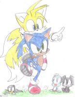 Sonic and Tails ADVENTURE!!(Colored) by ADSHedgehog