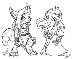 SD Gnoll Chival and Casra by blackheartedhate