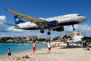 US Airways Airbus A319 Arriving Over Maho Beach by soak2179