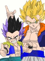 Gotenks and Gogeta Coloured by Cookiehan