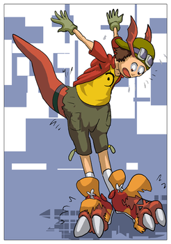 Takuya Digivolves to Guilmon by AJPart