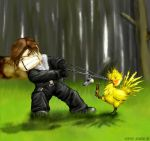 squall vs chocobos by silenteeep