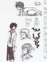 Luffy and Zoro sketches by Marimokun