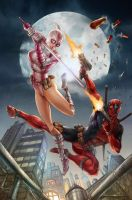 Deadpool VS Gwenpool fan art print by nickongart