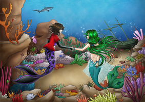 An Outsider Meeting a Mermaid - Coloured by Cypernelli
