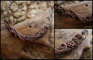 Twisted Copper Organic Necklace/Choker, Giger by tuskandclaw