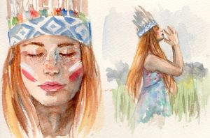 watercolour study by Nin-notte-in-neve