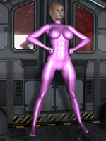 TheMightySpectra-V1-PinkLatexSuitDrone 0001 by creativeguy59