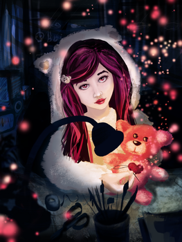 Lonely girl and teddy bear at Christmas by Dragowlin
