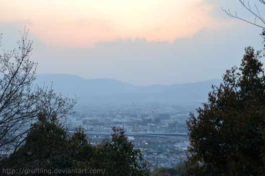 Sunset Kyoto view from Fumishi Inari Temple by Gruftling