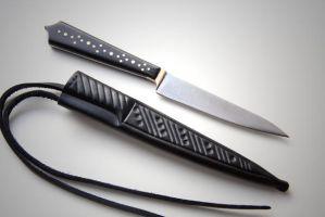 Medieval knife scabbard by MatthiasBlack