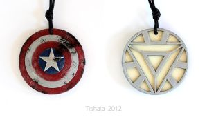 Captain America/Iron Man - Avengers pendant by tishaia
