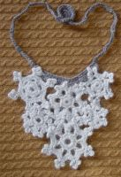 crochet snowflakes necklace by meekssandygirl
