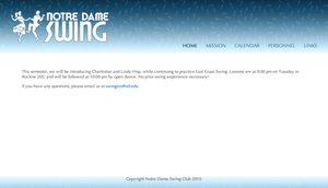 Notre Dame Swing Club Website by manda-pie