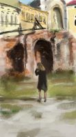 Woman at ruins by tombru