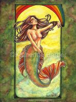 Watercolor Mermaid by kitttykat