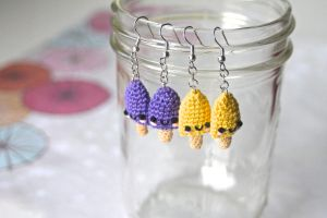 Miniature Crocheted Amigurumi Popsicle Earrings by SkySinger92