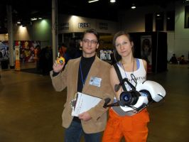 Cave Johnson and Chell Acen 2012 by AvatarZara