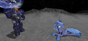 Luna sunbathing on the moon by mRcracer