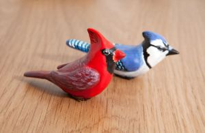 Cardinal and blue jay figurines, polymer clay by lifedancecreations