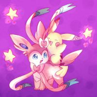 Sylveon And Pikachu by Gabrielleh