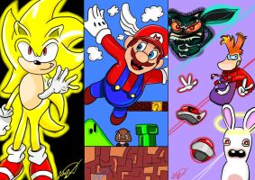Sonic, Mario and Rayman by Jerome2812