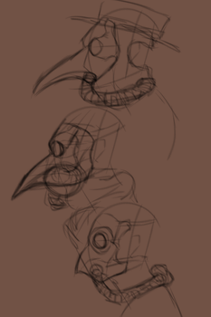 steampunk doctor's mask sketches by CrowleyGreyscale