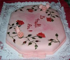 Pink roses cake by monarte