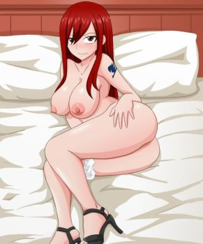 Erza Scarlet on the bed by Shablagooo