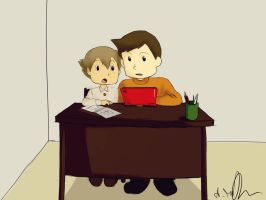 Hershel and Luke playing with a Nintendo by Sango94