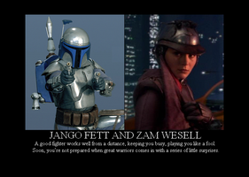 Jango Fett and Zam Wesell by Winter-Phantom